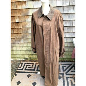 London Fog Mens LONG Canvas Coat 42 Long Brown